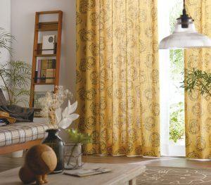 リサ・ラーソンの麻綿プリントのイージーオーダーカーテン